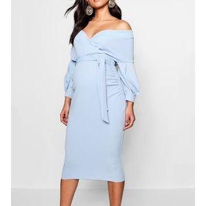 Maternity off the shoulder Blue dress